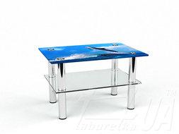 Прямоугольный журнальный стол с полкой