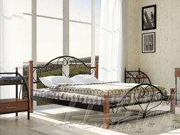 """Металеве ліжко """"Джоконда"""" на дерев'яних ногах"""
